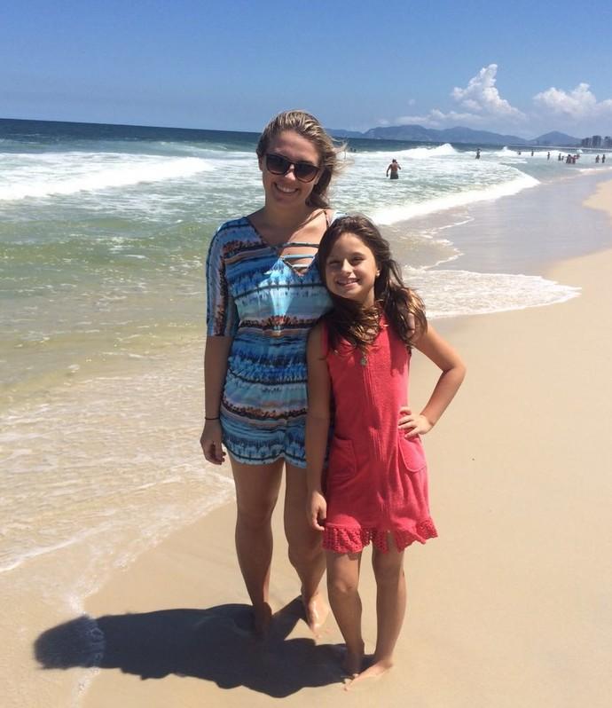 Rafa Gomes the Voice Kids e prima na praia (Foto: Arquivo pessoal )
