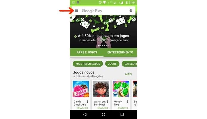 Destaque para menu do app Google Play Store (Foto: Reprodução/ Raquel Freire)