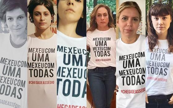 As atrizes Drica Moraes, Luisa Arraes, Tainá Müller, Cissa Guimarães, Astrid Fontenelle e Alice Wegmann posaram nas redes sociais com a camisa da campanha contra assédio (Foto: Reprodução Instagram)