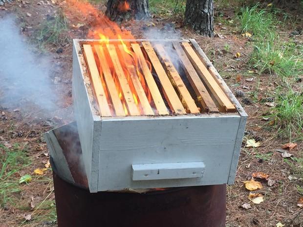 Caixas que armazenavam as colmeias foram queimadas  (Foto: Flowertown Bee Farm and Supplies/Facebook)