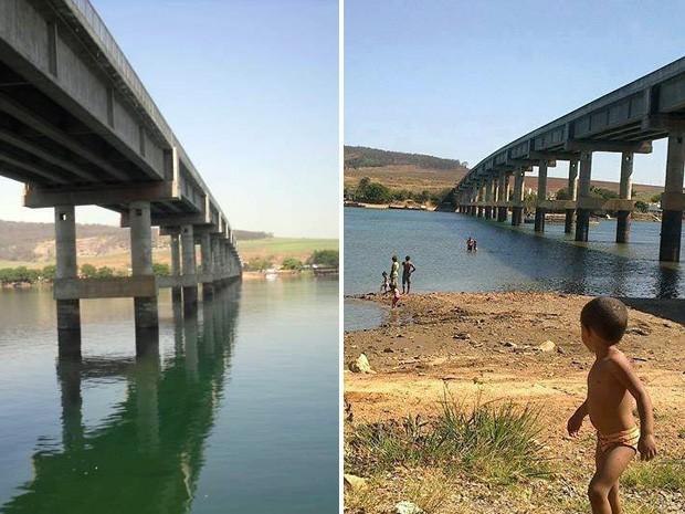 Imagens mostram ponte em São João Batista do Glória antes, em 2011 e agora (Foto: Reprodução Amigos do Rio Grande)