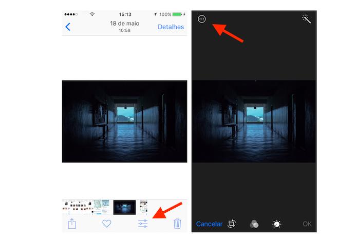 Acesso para outras opções de edição de uma imagem no iOS 10 (Foto: Reprodução/Marvin Costa)