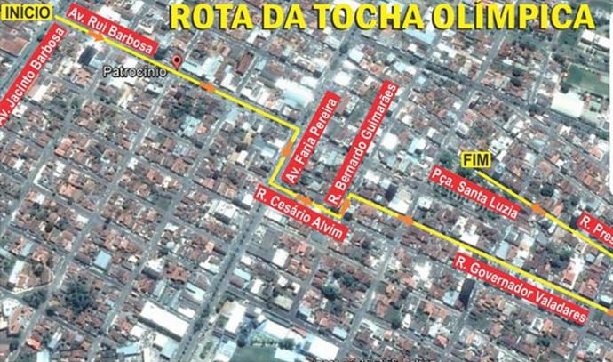 Roteiro Tocha Olímpica Patrocínio, MG (Foto: ASCOM PMP/Divulgação)