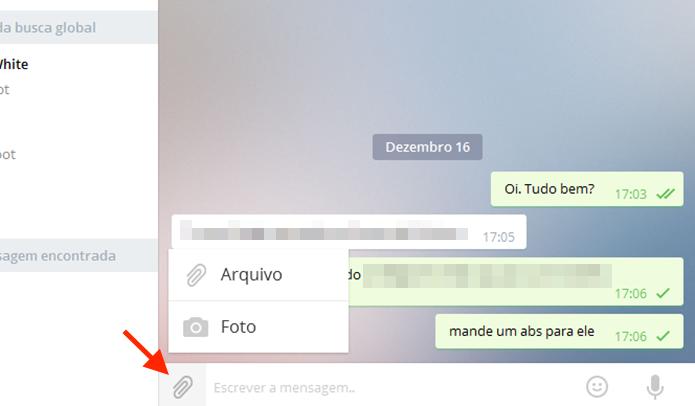 Função para anexar anexos a uma mensagem do Telegram no PC (Foto: Reprodução/Marvin Costa)