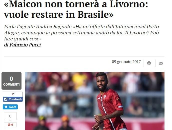 Internacional Inter Maicon livorno (Foto: Reprodução)