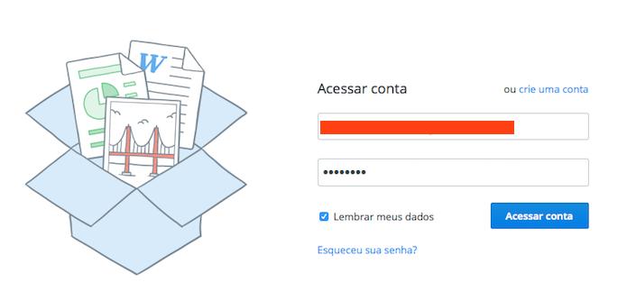 Acessando a conta DropBox (Foto: Reprodução/Edivaldo Brito)