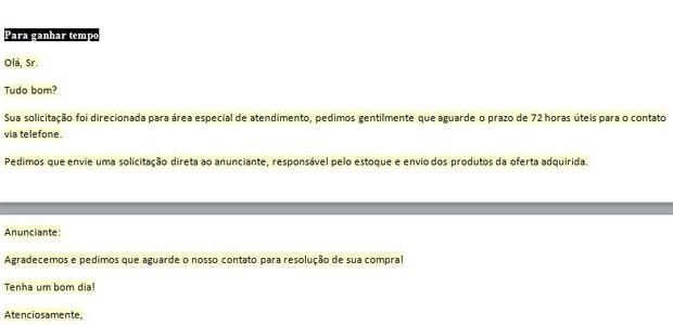 Manual orienta funcionários do site a 'enrolar' clientes insatisfeitos (Foto: Reprodução)