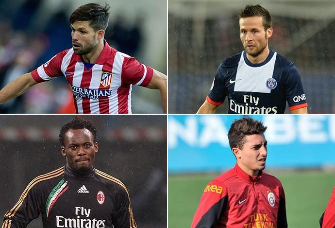 Montagem - Diego (Atlético de Madrid), Cabaye (PSG), Essien (Milan) e Alex Telles (Galatasaray) (Foto: Editoria de Arte)