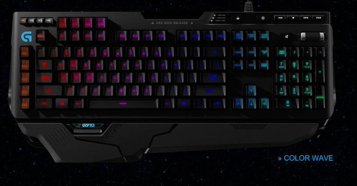 Modelo tem teclas iluminadas com opções de cores em áreas (Foto: Divulgação/Logitech)