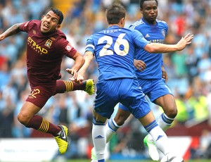 Tevez na partida do Manchester City contra o Chelsea (Foto: AP)