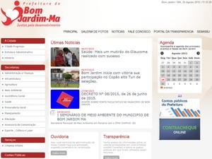 Por volta de 11h30, site da Prefeitura de Bom Jardim (MA) voltou ao normal (Foto: Reprodução)