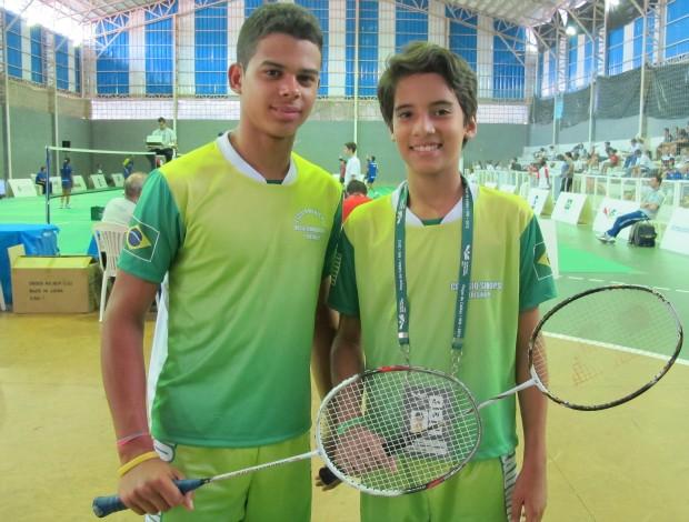 Vinicios e Fabricio dupla badminton Piaui Olimpíadas Escolares (Foto: Ana Carolina Fontes)
