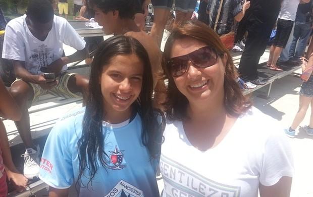 Laura e mãe Copa Integração de Natação (Foto: Diego Alves)