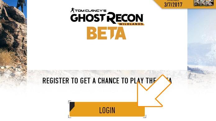 Clique no botão para começar sua inscrição na beta de Ghost Recon: Wildlands (Foto: Reprodução/Rafael Monteiro)
