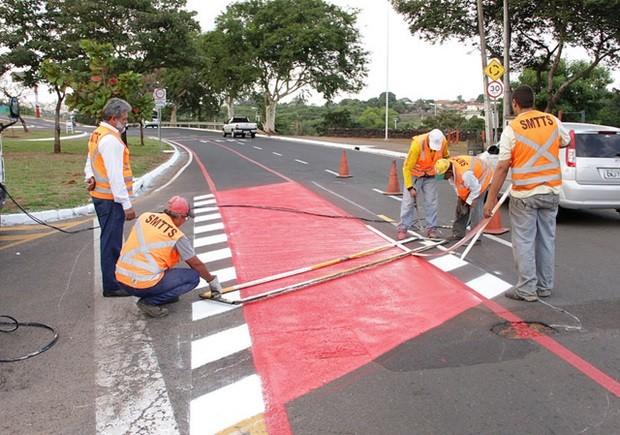 Faixa exclusiva para ciclistas será usada só aos domingos, das 7h às 16h (Foto: Divulgação / Prefeitura)