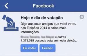Botão 'Eu votei' no facebook incentivava usuários a informar se haviam comparecido às urnas ou não. (Foto: Reprodução/Facebook)