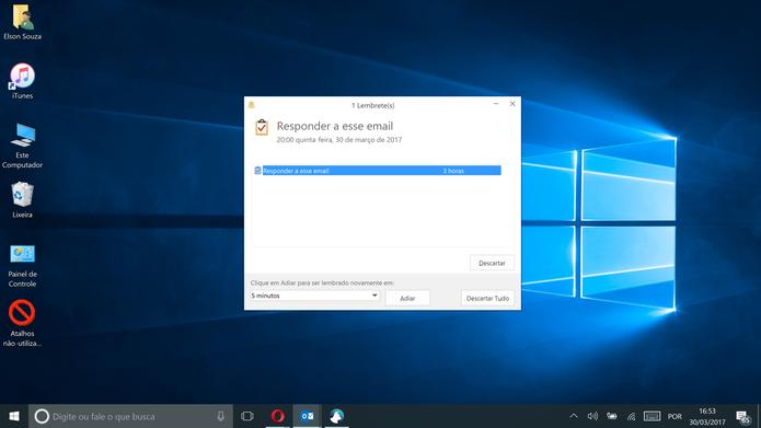 Outlook exibirá janela com alerta sonoro para lembrete de e-mail (Foto: Reprodução/Elson de Souza)