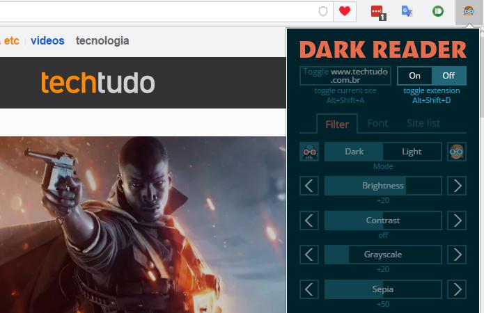 Dark Reader permite controle detalhado para escurecer tela (Foto: Reprodução/Paulo Alves)