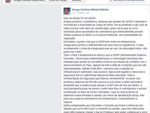 Reitor desabafou sobre insegurança na Uespi em rede social (Foto: Reprodução/Facebook)