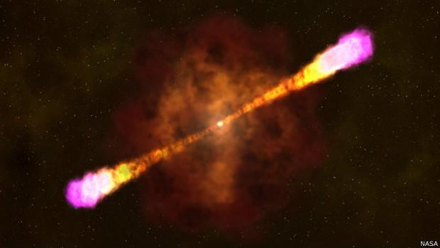Explosões cósmicas como essa espalham muita radiação pelo cosmo. (Foto: BBC)