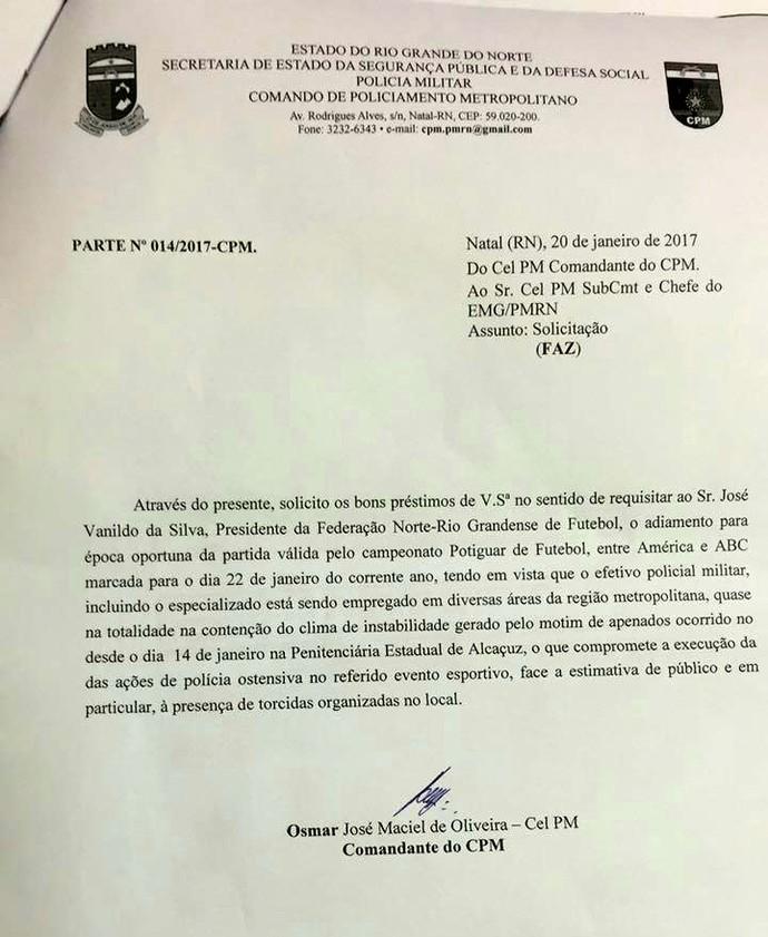 RN - ofício suspensão PM Clássico Rei América-RN x ABC  (Foto: Reprodução)