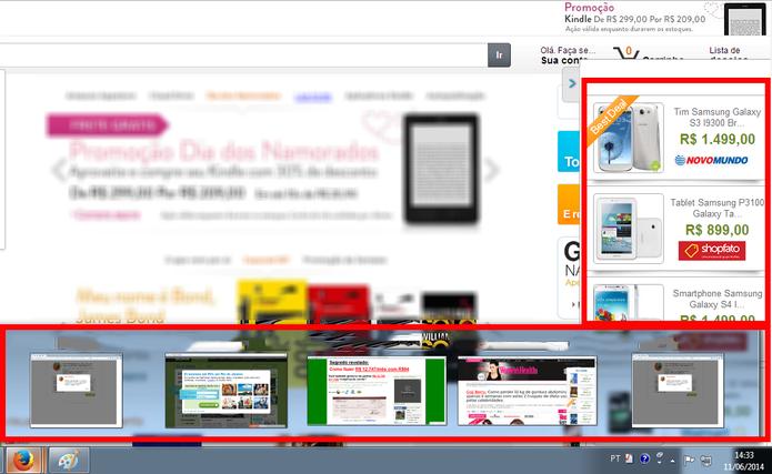 Propagandas do Offers4U no navegador (Foto: Reprodução/ Marcela Vaz)