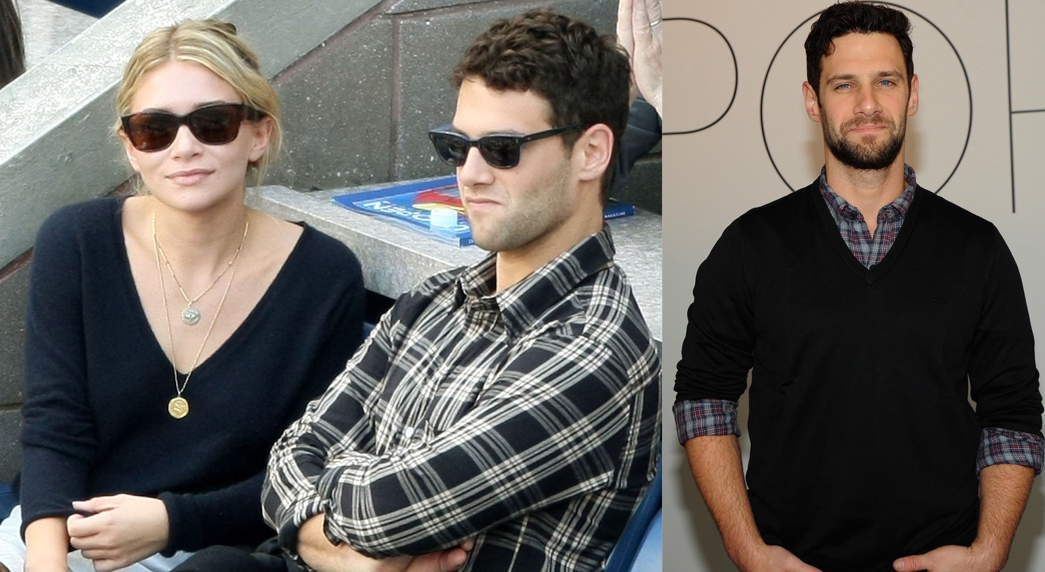 Justin Bartha e Ashley Olsen em 2009, e Justin Bartha em 2014 (Foto: Getty Images)
