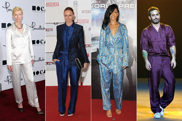Famosas de pijamas - Tilda Swinton, Stella McCartney, Rihanna e Marc Jacobs (Foto: Getty Images)