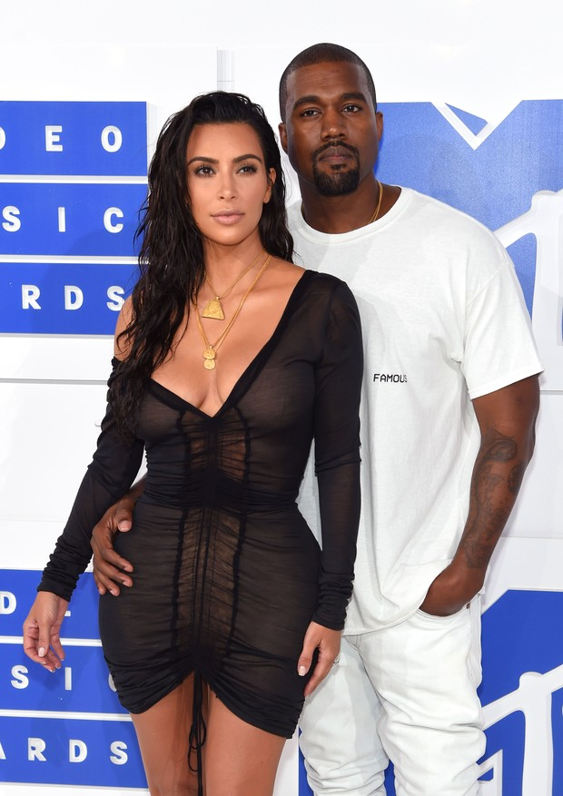 Kim Kardashian e Kanye West no MTV VMA's 2016 (Foto: Getty Images)