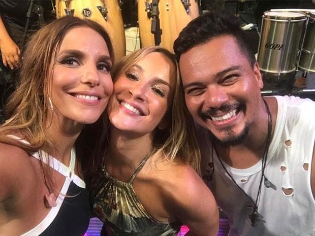 Ivete Sangalo, Claudia Leitte e Bruno Cardoso em show em Salvador, na Bahia (Foto: Instagram/ Reprodução)