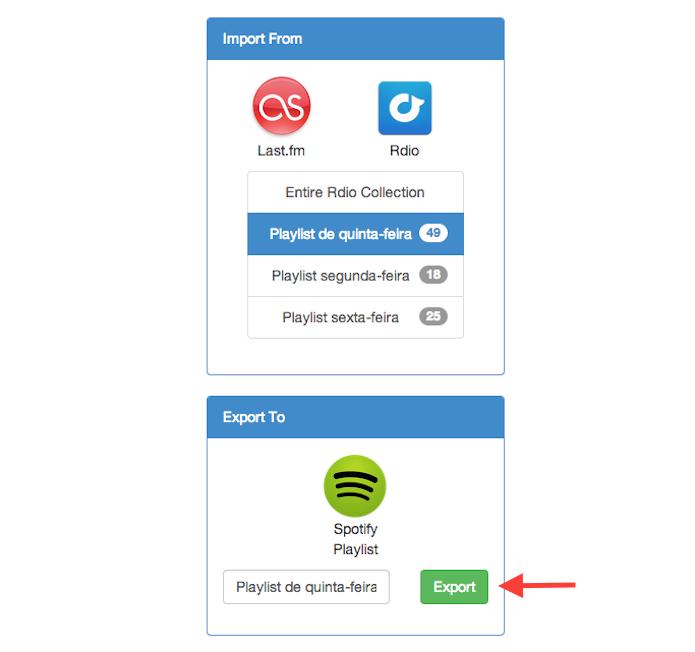 Exportando as playlists do Rdio para o Spotify através do Playlist Exchance (Foto: Reprodução/Marvin Costa)