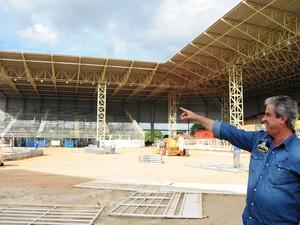 Arena da Festa do Peão de Americana (SP) recebe montagem para edição deste ano (Foto: Raul Pereira/ G1)