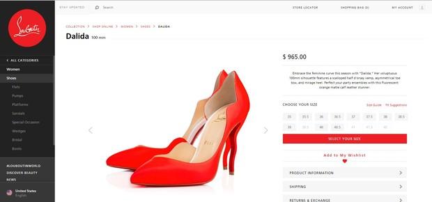 Sapato similar aos de Bruna Marquezine é vendido por R$2,8 mil no site da marca Christian Louboutin (Foto: Reprodução da Internet)