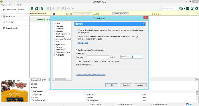 Configure o acesso remoto no uTorrent (Foto: Aline Jesus/TechTudo)