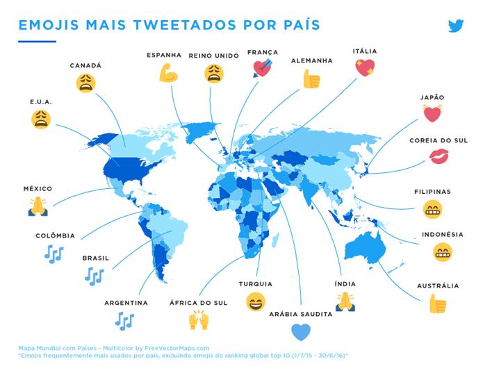 Mapa do Twitter mostra emoji mais comuns em vários países (Foto: Reprodução/Twitter)