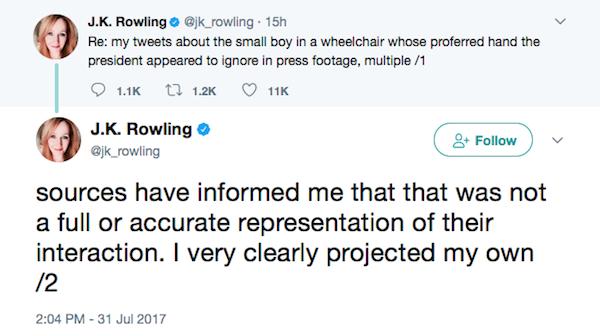 Os pedidos de desculpas públicos de J.K. Rowling a Donald Trump (Foto: Twitter)