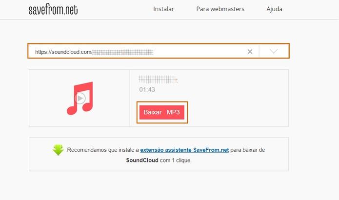 Músicas do Soundcloud podem ser baixadas pelo SaveFrom (Foto: Reprodução/Barbara Mannara)
