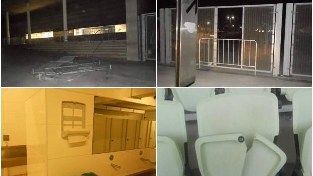 Depredação na Arena Castelão (Foto: Arte/GloboEsporte.com)