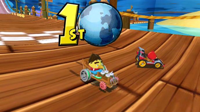 """""""Senna Bird"""", personagem em homenagem a Ayrton Senna no jogo """"Angry Birds Go!"""" (Foto: Reprodução)"""