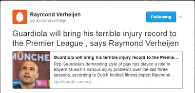 Raymond Verheijen tweet Pep Guardiola (Foto: Reprodução/Twitter)