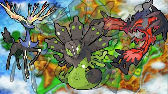 Da esquerda para a direita, Xerneas, Zygarde e Yveltal são os lendarios principais de Pokémon X & Y (Foto: Reprodução/YouTube)