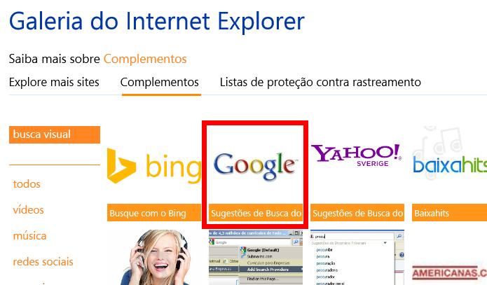 Página permite adicionar funcionalidades ao Internet Explorer (foto: Reprodução/Internet Explorer)