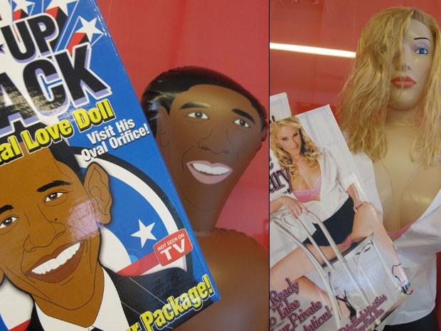 Bonecos de Obama e de secretária: semelhança duvidosa (Foto: Paulo Toledo Piza/G1)