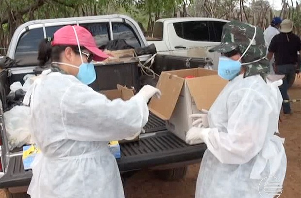 Técnicos da Saúde fazem exames em Aroeiras Aroeiras do Itaim (Foto: Reprodução/TV Clube)