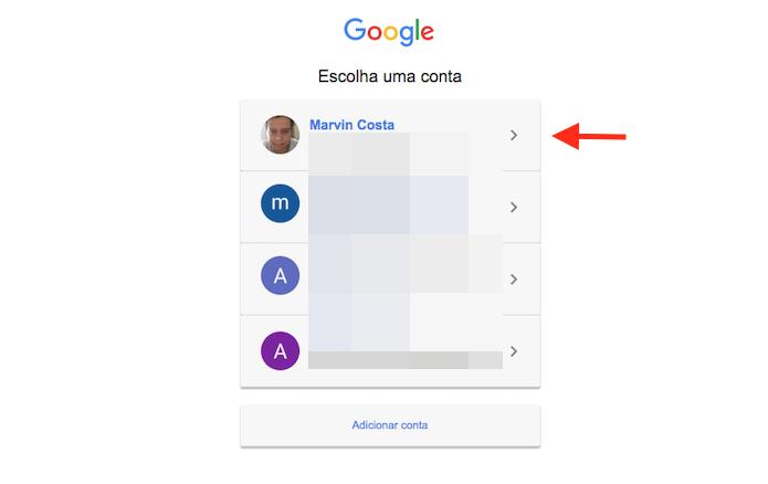 Opção para definir uma conta do Google para o acesso do serviço IFTTT ao YouTube (Foto: Reprodução/Marvin Costa)