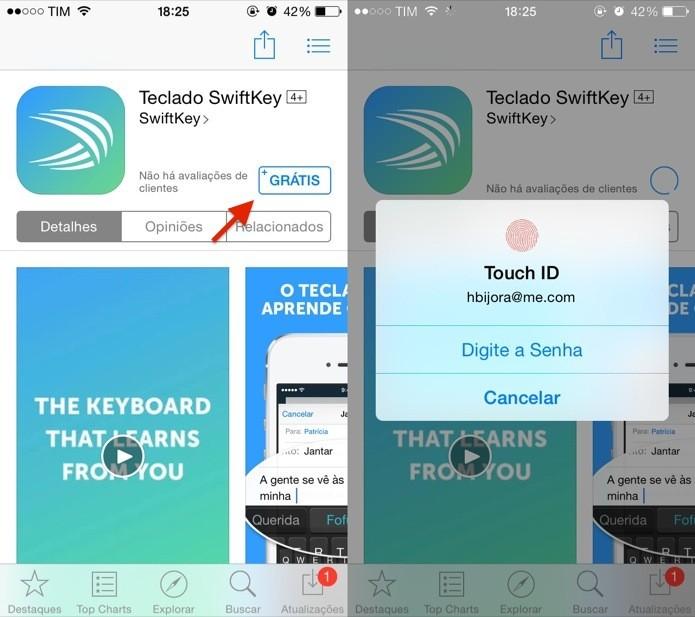 Instale o app SwiftKey no iOS 8 (Foto: Reprodução/Helito Bijora)