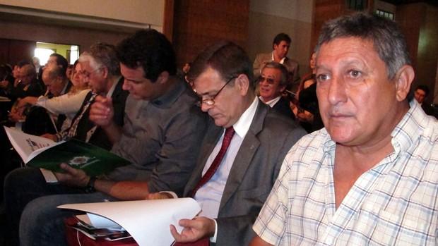 sorteio libertadores Celso Barros, Sandro Lima, Marcelo Penha, dirigentes do Fluminense, e o ex-jogador Romerito (Foto: Edgard Maciel de Sá / Globoesporte.com)