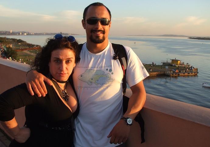 Grace Gianoukas com o sobrinho Dimas Gianuca na Usina do Gasômetro (Foto: Arquivo Pessoal)