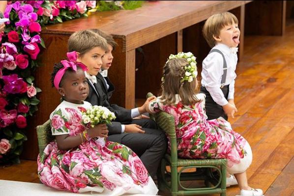 Daminhas de honra e pajens do casamento de Marina Ruy Barbosa (Foto: Reprodução/Instagram)