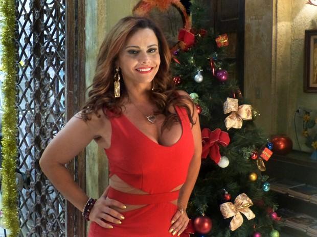 Naná veste vestido vermelho neste Natal (Foto: Fabio Rosso/ Gshow)
